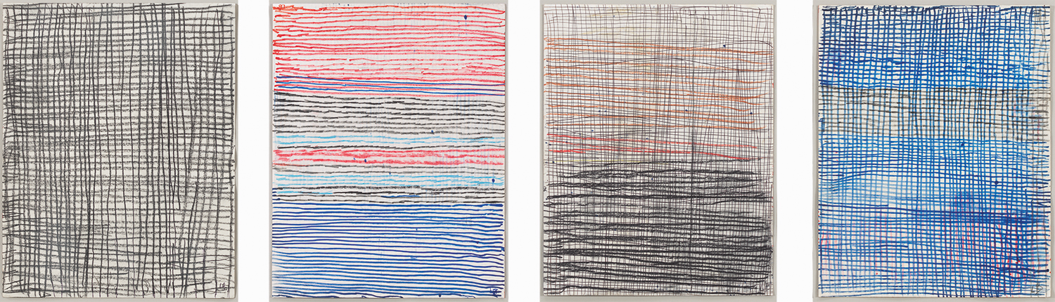 Untitled , 2005,a sequenced, indivisible suite of 4 double sided drawings,recto: charcoal on paper,each: 28.9 x 22.9 cm Ph Christopher Burke © The Easton Foundation/SIAE
