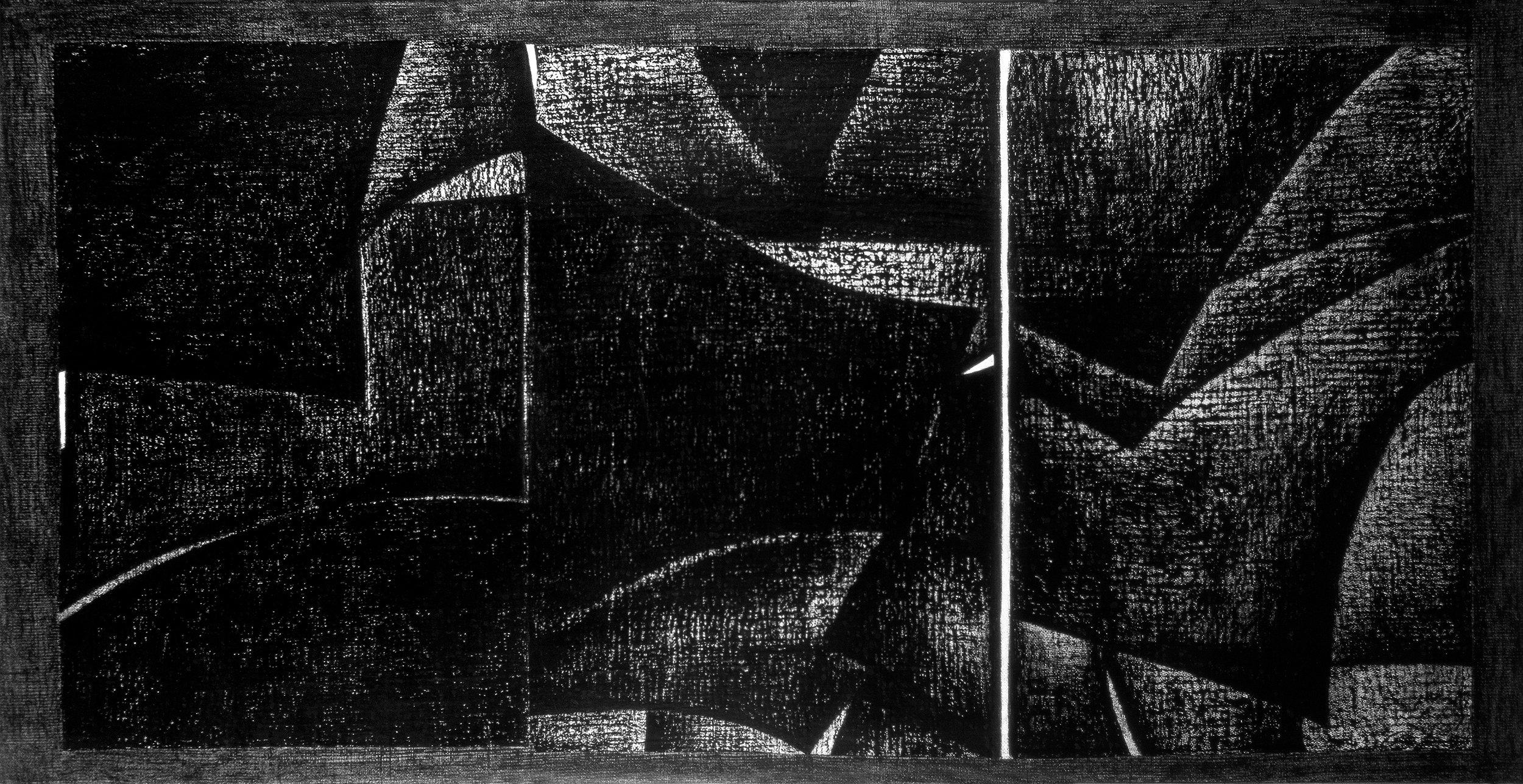 Costrutta nell'ottantasei numero sei , 1986, tecnica mista su tela e carta, 322x170 cm XI Quariennale di Roma, 1986