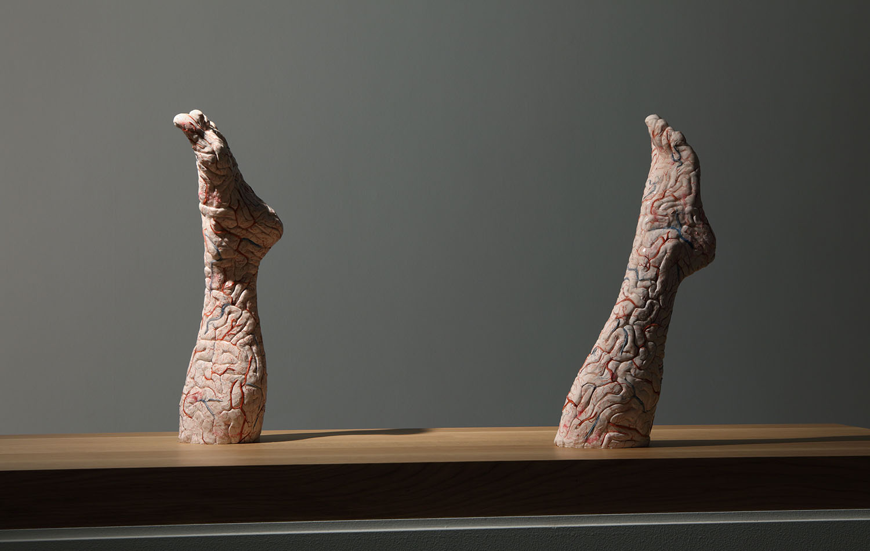 Brain Legs , 2010,silicon, paint,52x16x14 cm (left leg); 49,5x15 x14 cm (right leg) Ph. Attilio Maranzano ©Angelos bvba