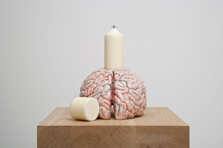 My brain, my religion , 2014,silicon, pigment, paraffin, rope,35,5x23x32,5 cm Ph. Pat Verbruggen ©Angelos bvba