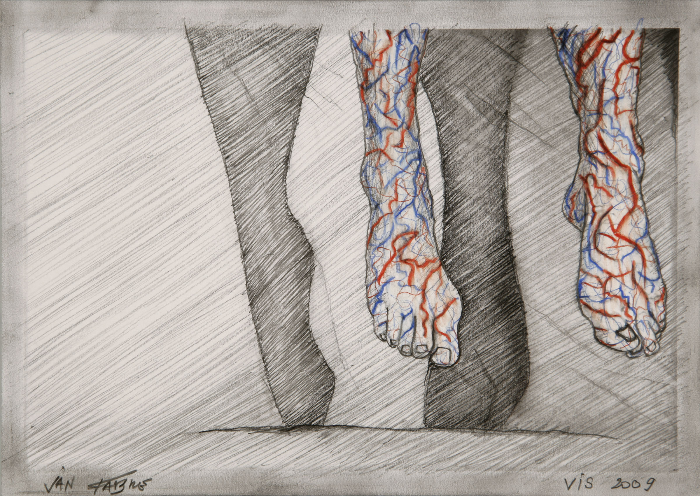 Jumping brain legs ,2009,HB pencil, colour pencil on photo paper,12,5x17,5 cm  Ph. Pat Verbruggen ©Angelos bvba