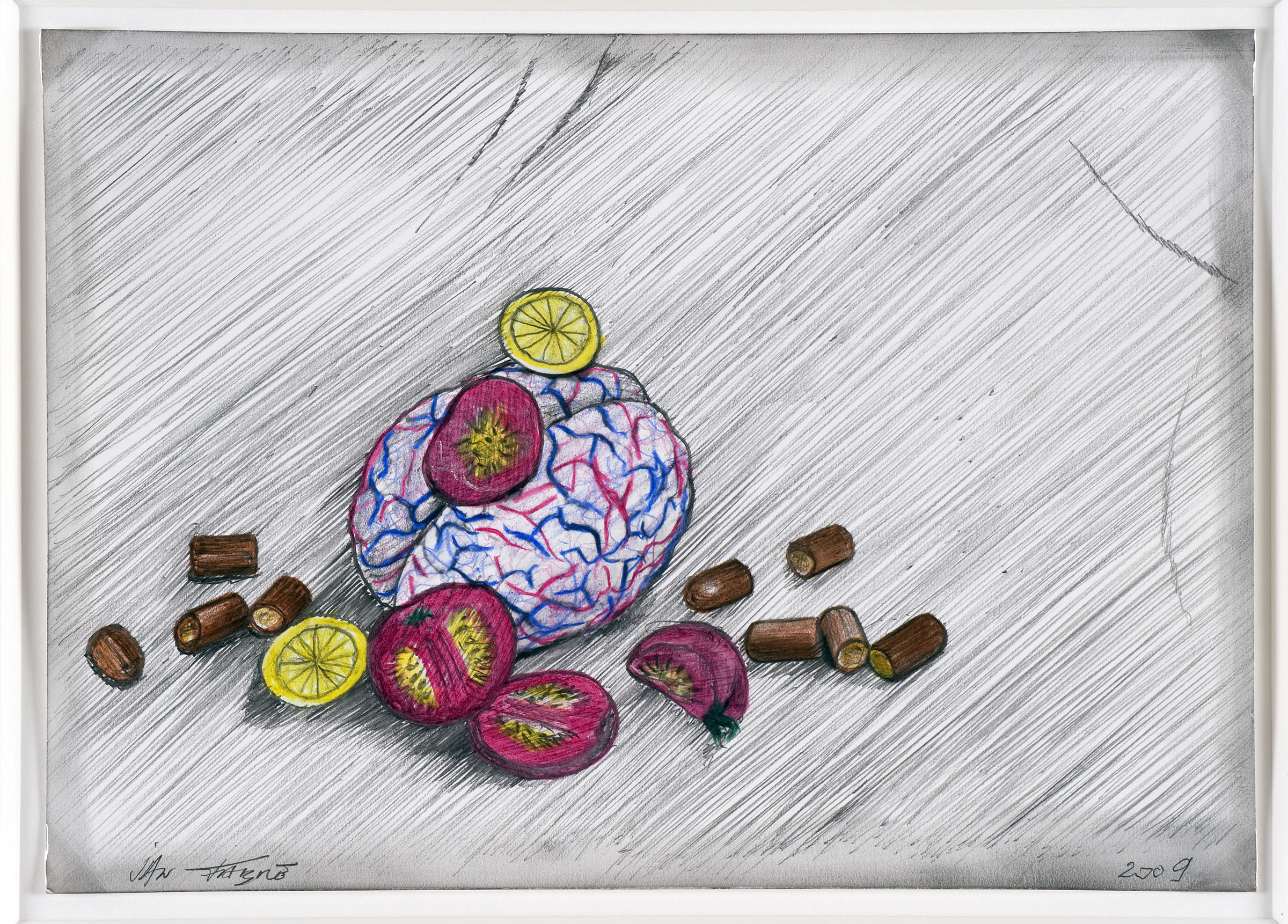 A salad for Munich , 2009,HB pencil and colour pencil on photographic paper,12,7 x 17,7 cm Ph. Mario Gastinger ©Angelos bvba