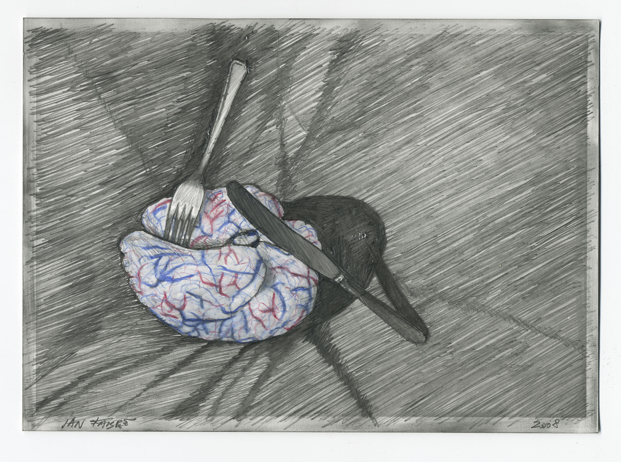 My mother tastes good , 2008,HB pencil and colour pencil on photographic paper,12,7x17,7 cm  Ph. Mario Gastinger ©Angelos bvba