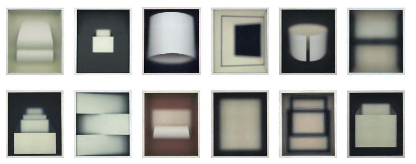 Corpi fragili , 2016-2017 paper, wood, glass, cm 37 × 32 each