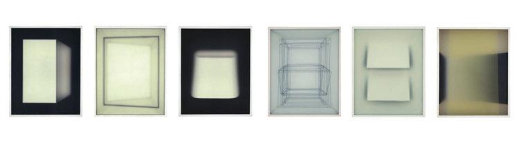 Corpi fragili , 2018, paper, wood, glass, 45x37 cm each