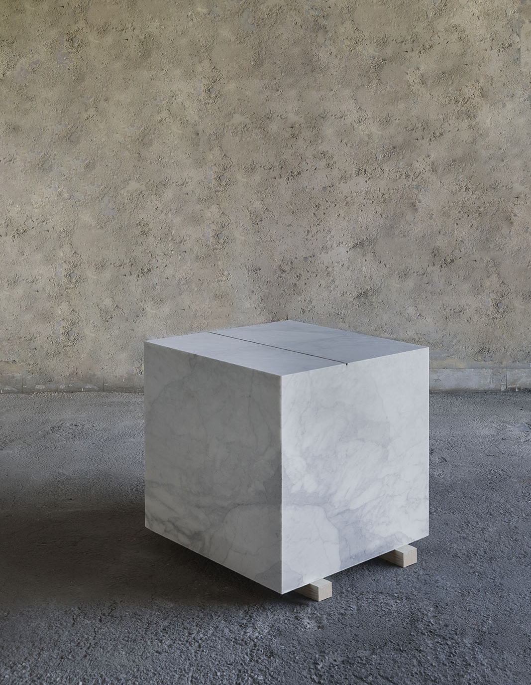 A Square Meter of Marble with a Linear Meter of Ash,  2018, marble, cigar ash, cm 100x100x100