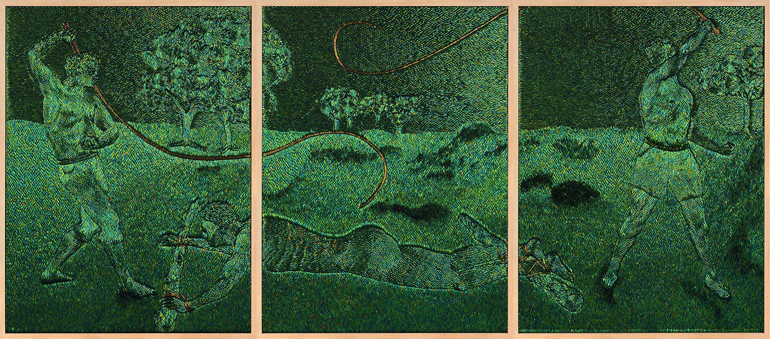 The Belgian Blacks Know the Clack of the Whip , 2013, jewel beetle wing-cases on wood, (3x) 227,5 x 173 x 8,1 cm