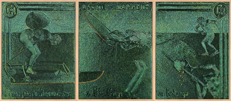 Venturing on Slippery Iron , 2013, jewel beetle wing-cases on wood, (3x) 227,5 x 173 x 8,1 cm