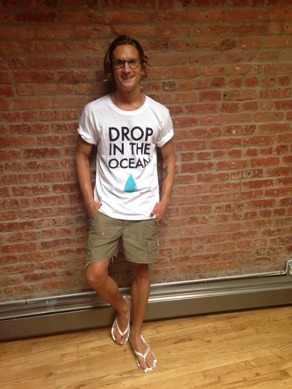 Serge DeNimes founder and designer Oliver Proudlock with his new Save the Sea design