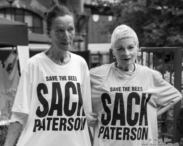 EJF Patron Katharine Hamnett and Dame Vivienne Westwood in Katharines new 'Sack Paterson' T shirt