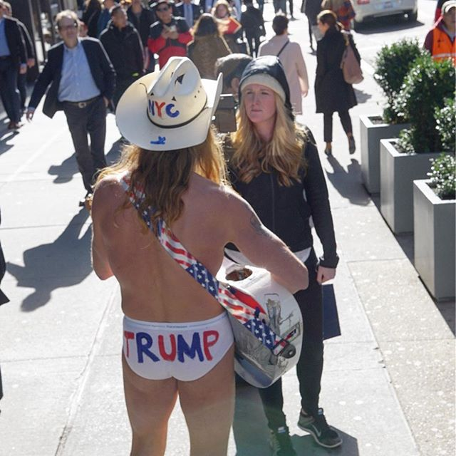 Today around 2pm EST, I witnessed a protest outside Trump Tower in NYC. A Trump impersonator was there along with NYC's Naked Cowboy (featured in this photo). I think the photos speak for themselves. #nyc #trumpprotest #nbc4you #ktla #latimes #abc7eyewitness #foxla #sonyimages #sonyalpha #donaldtrump #trump2016 @myfoxla @nbcla @latimes @ktla5news #clinton2016 #politics #liberal #hillaryclinton #conservative #republican #america #democrat #usa #hillaryclinton2016 #clinton #hillary #funny #vote #president #politicians #trump #donaldtrump2016 #photooftheday