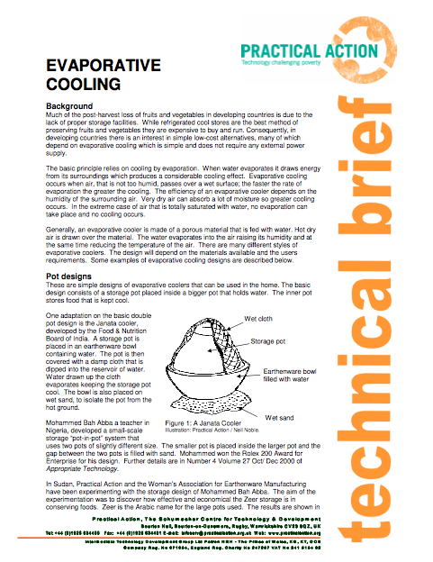 Factsheet on evaporative cooling from Practical Action
