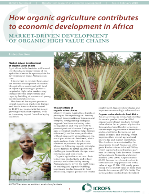 Paper assessing the economic contribution of organic agriculture to rural development in Africa
