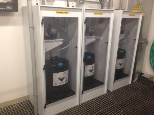 Chemical injection cabinets with 15 gallon drums of NAOH and Sulfuric ACid