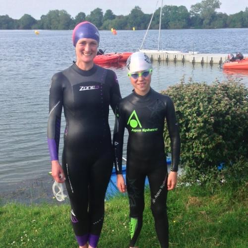 Fiona and Alfie training for their swim
