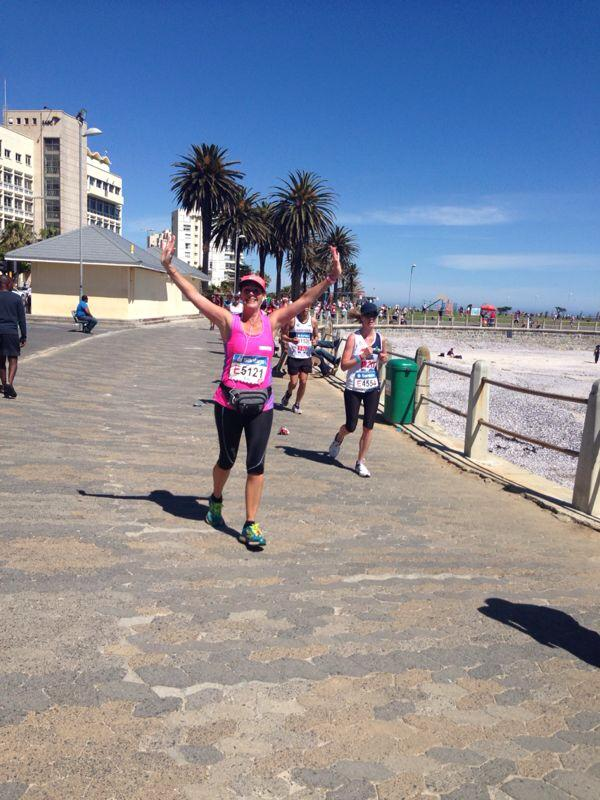 Fob finishing the Cape Town Marathon