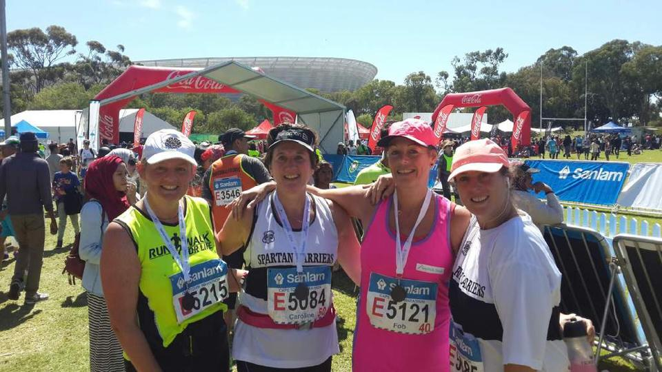 Fob and her friends with their Marathon medals