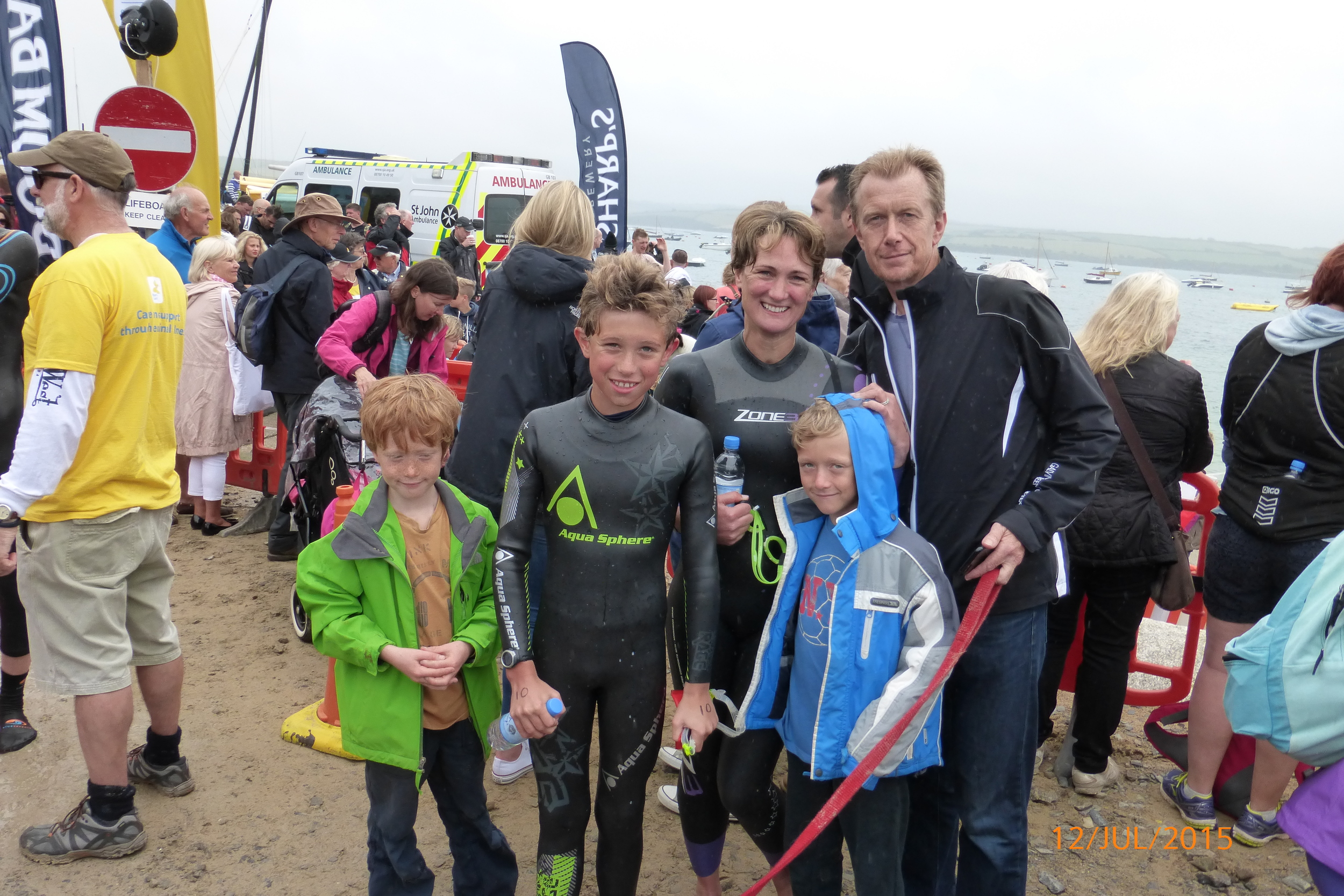 The Beckett Family after the swim
