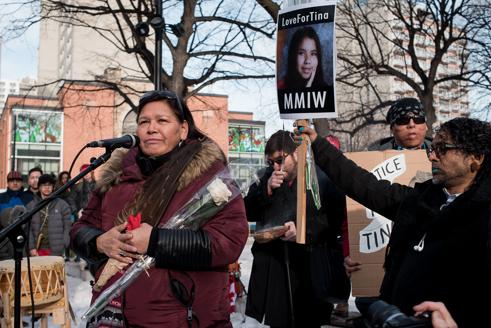 MONTREAL, February 24, 2018. -- Vivian Michel speaks at the Tina Fontaine Vigil in Cabot Square, Montreal. Vigils and protests were held across the country after the man accused of Fontaine's murder was found not guilty.