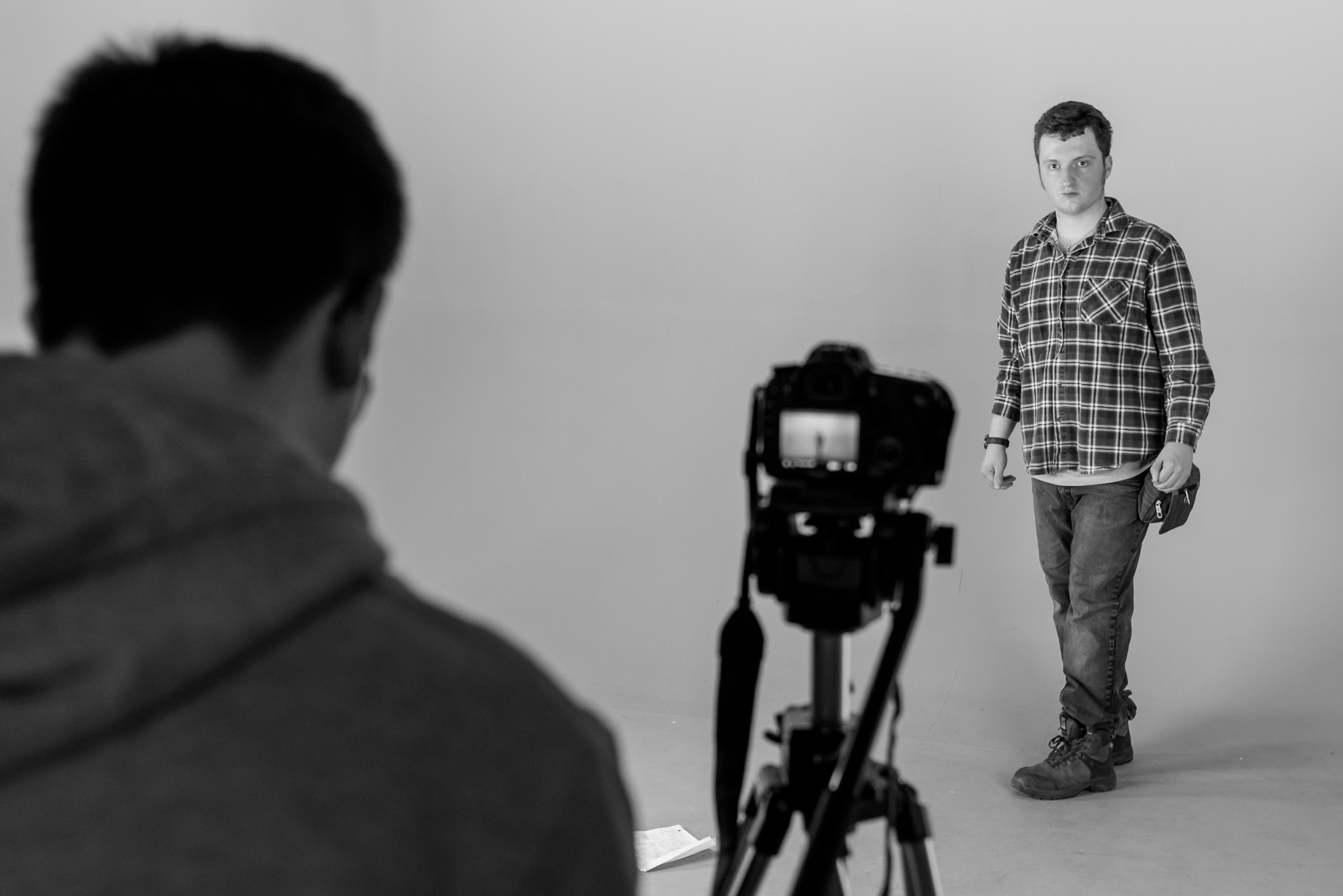 A participant steadies himself in front of the camera.  Engaging in video work nurtures self confidence which benefits most other aspects of life.   In this photo essay I show youth on the autism spectrum engaged in programming at Spectrum Productions.   Spectrum Productions provides an opportunity for youth to gather together - they imagine, story board, write scripts, draw and create video while interacting with each other and with staff, something that is not always an easy task.