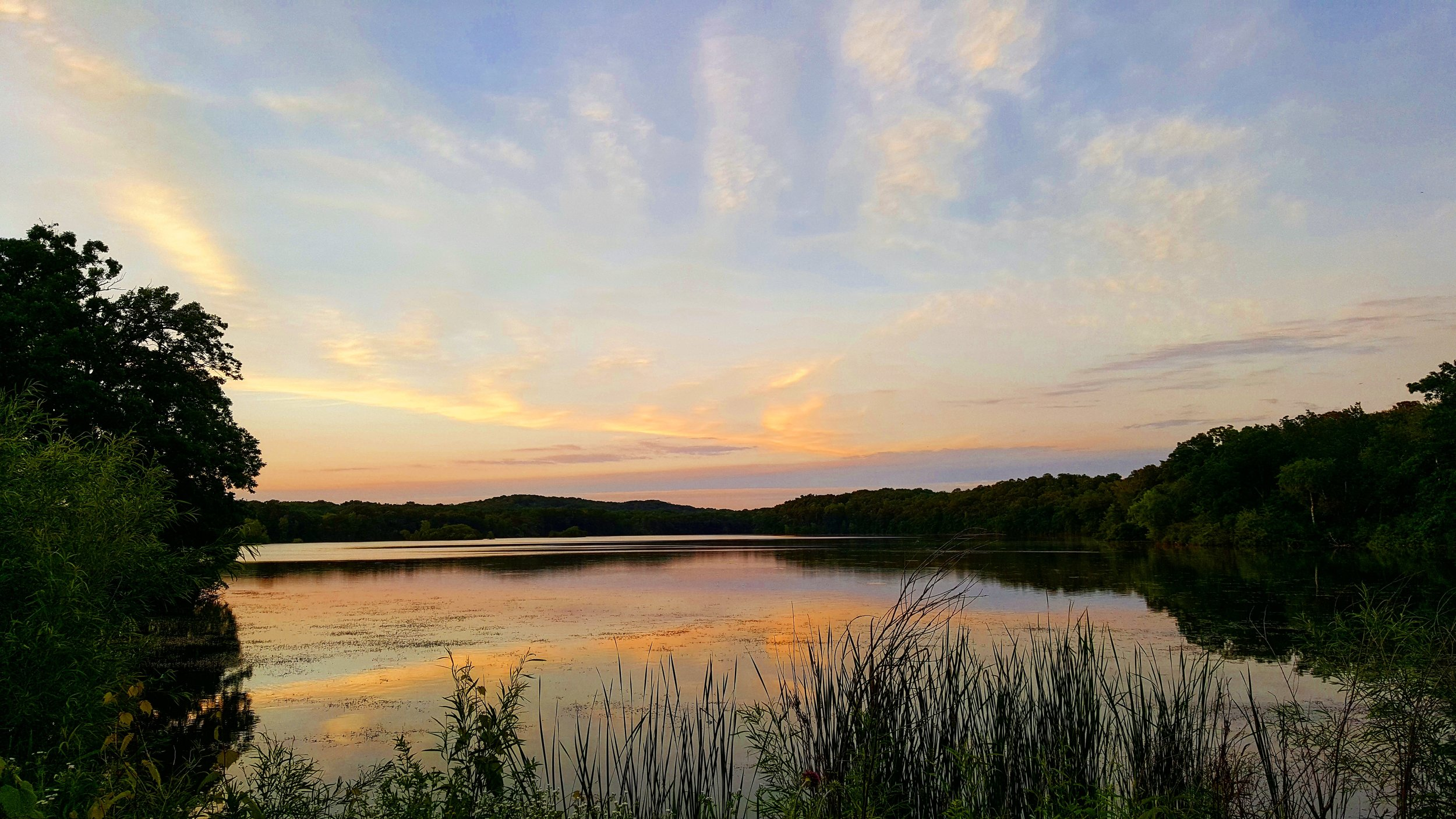 Sunset over Rice Lake in Whitewater, WI
