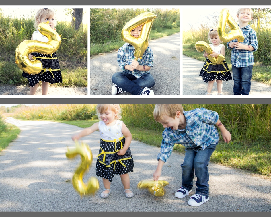 Balloon fun! They mostly wanted to bang them against the concrete, but we managed to get them to hold still for a few shots. Lol! I love it!