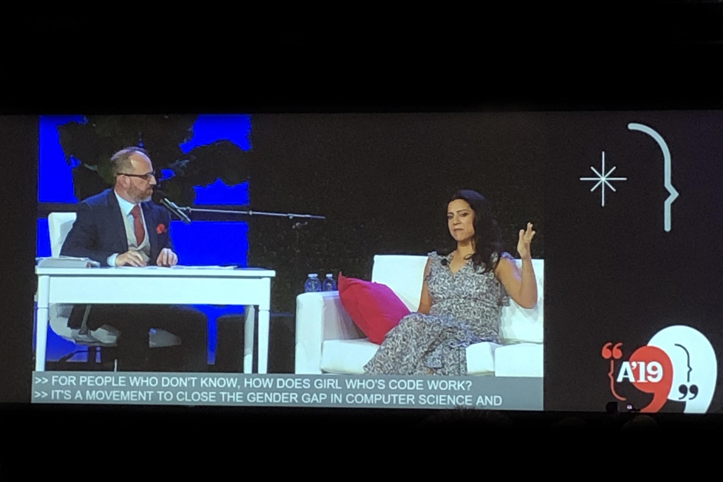 Roman Mars and Reshma Saujani at the AIA meeting.
