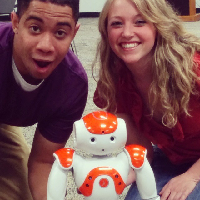Our actors from yesterday's shoot? Can you guess which one is the #robot ?