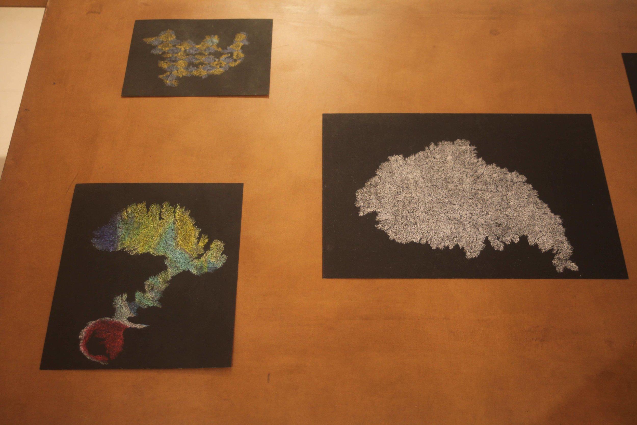 Pastels on Paper ,  Oil on Needle , 2017 Installation View during  Quelque chose comme le dessin  at L'Entrepôt Daniel Boeri Gallery, Monaco, MC. From top left clockwise: 23,6 x 17,4cm, 29.7 x 42 cm, 24,9 x 29,6 cm, 29.7 x 42 cm