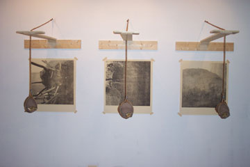 Introspection. 2003. Transfer print, pine, mud, straw, rope, hardware. -