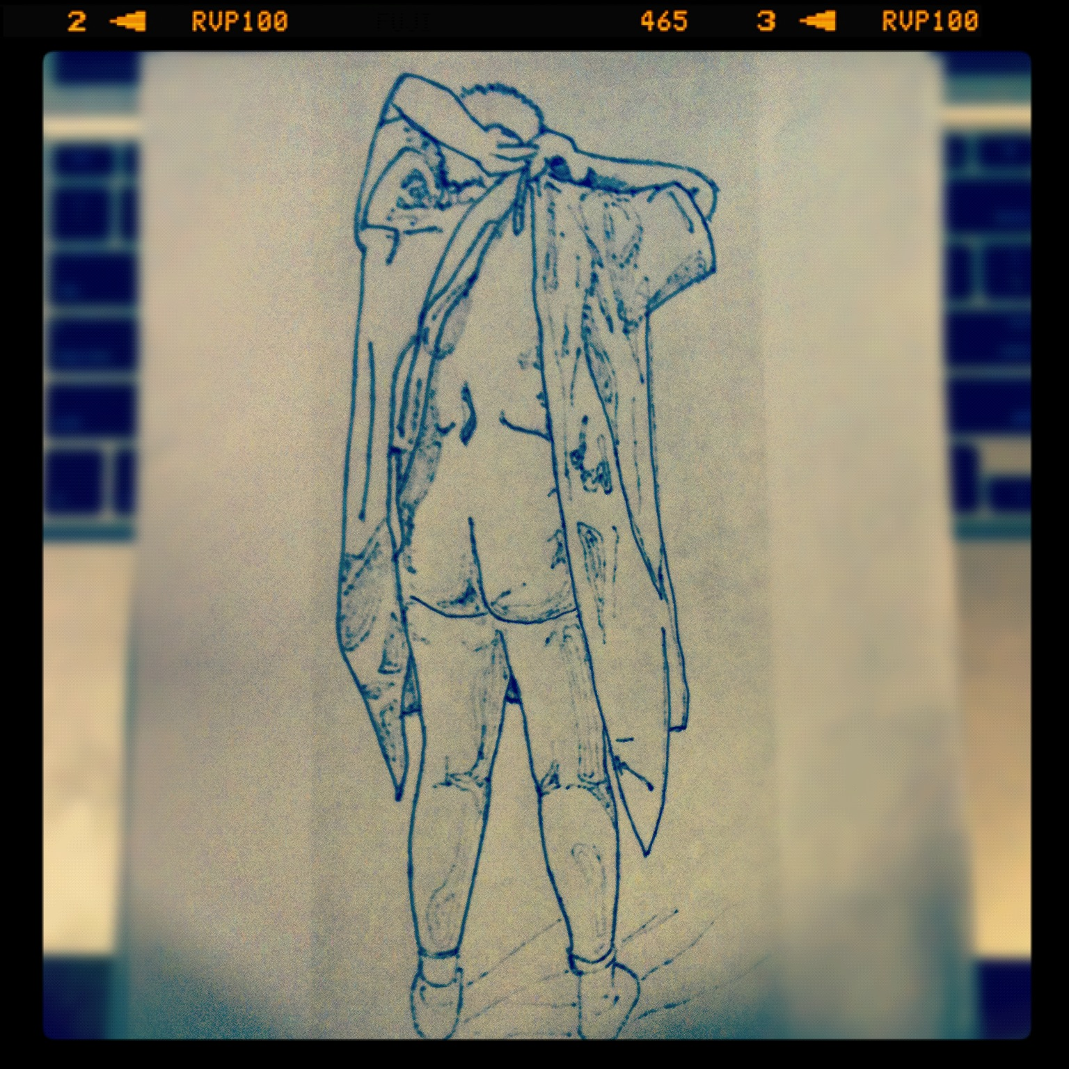 Sketch for thread drawing on Hospital Gown Quilt. 2012. -