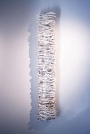 Footprints. 2004. Cast paper, detritus. -
