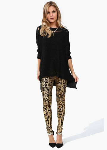 Metallic Print Leggings