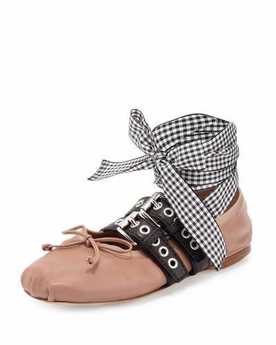 Miu Miu - Leather Belted Ballerina Flat