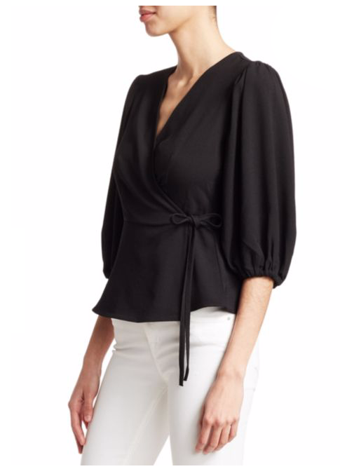 Crepe Puff-Sleeve Wrap Blouse - Ganni - Saks Fifth Avenue