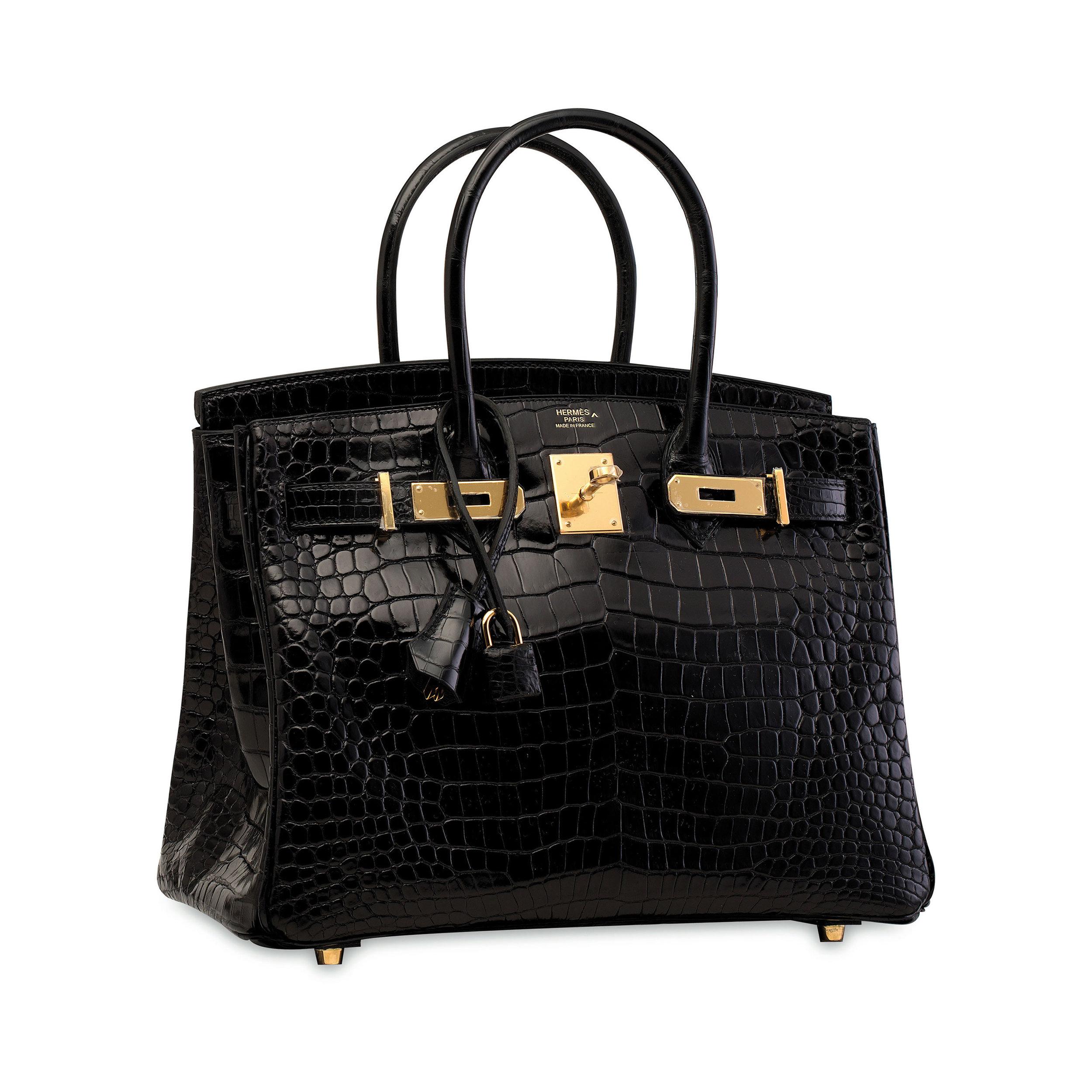Hermès Shiny Black Porosus Birkin