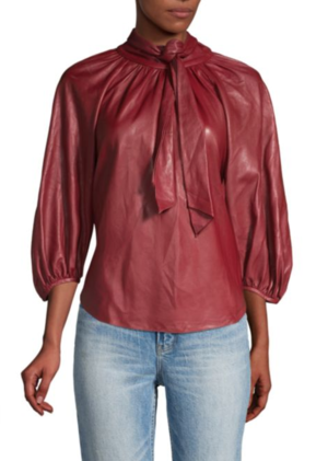 Vegan Leather Tieneck Top Rebecca Taylor - Saks Fifth Avenue