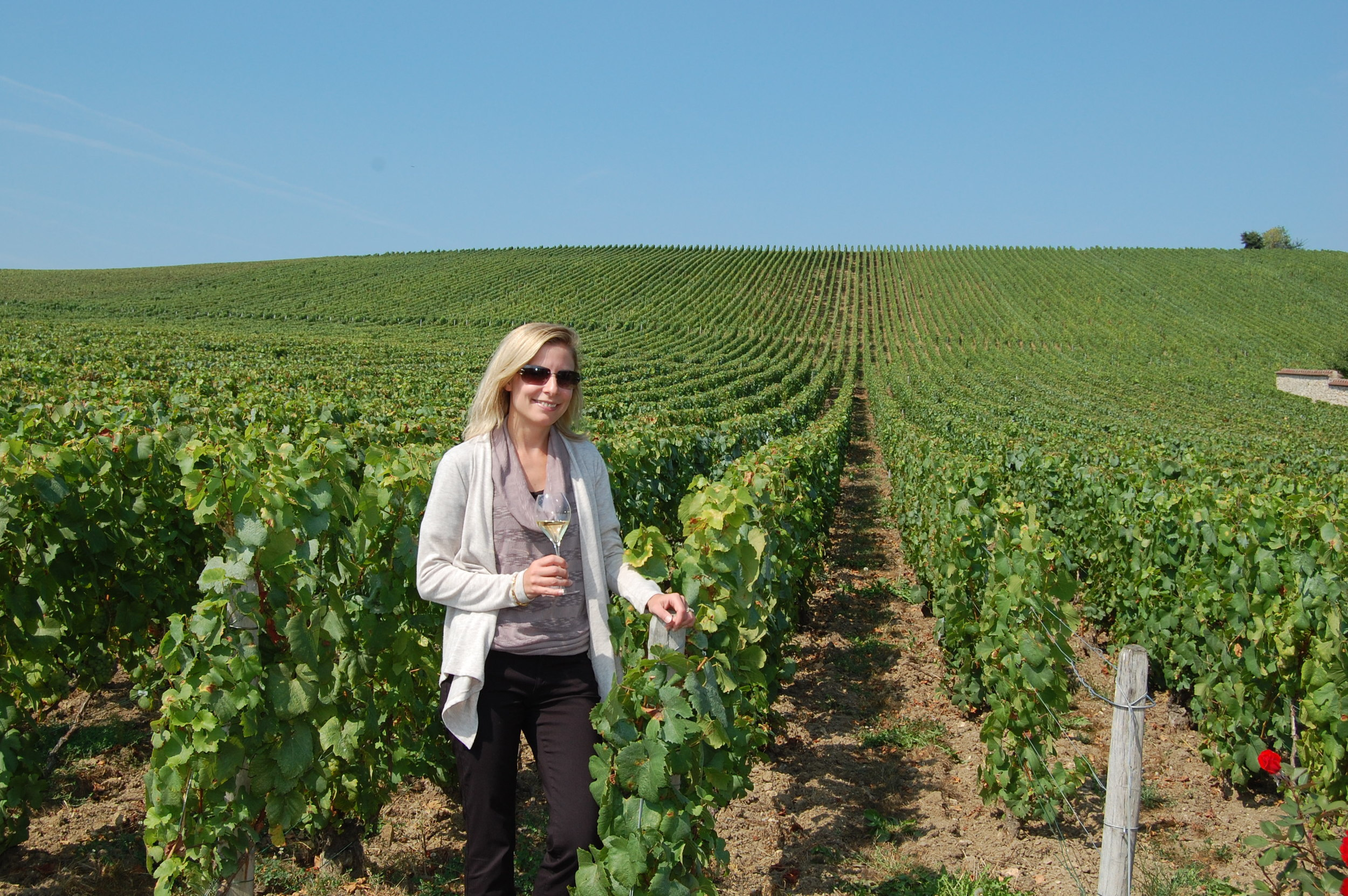 Sipping Comtes de Champagne in the Vineyards at Taittinger.
