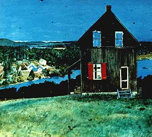 The Hope of the World  by William Kurelek depicts a poustinia on the grounds of Madonna House, Combermere, Canada,