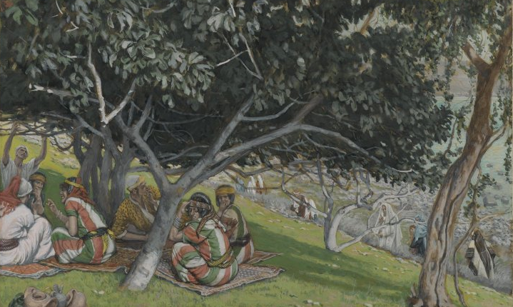 """Nathanael Under the Fig Tree by James Tissot    """"Standing before him with open hearts, letting him look at us, we see that gaze of love which Nathanael glimpsed on the day when Jesus said to him: 'I saw you under the fig tree' (Jn. 1:48)"""" (Pope Francis, Evangelii Gaudium 264)."""