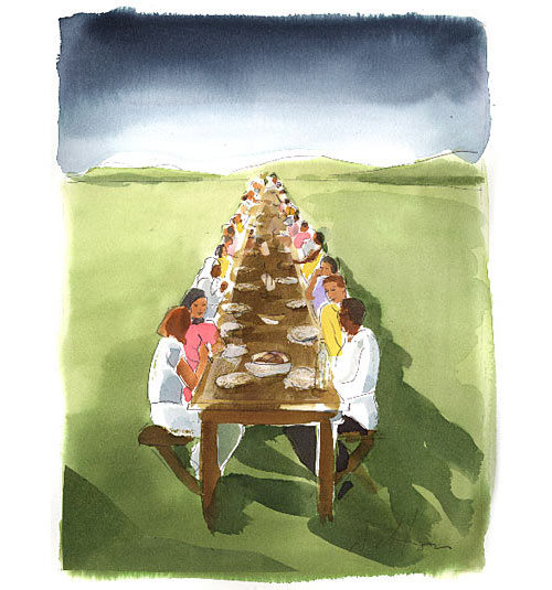 The Table  by Julie Delton. Originally published on the cover of  The Christian Century  magazine and published here with permission. Click on the image for more of Julie's artwork (www.juliedelton.weebly.com).