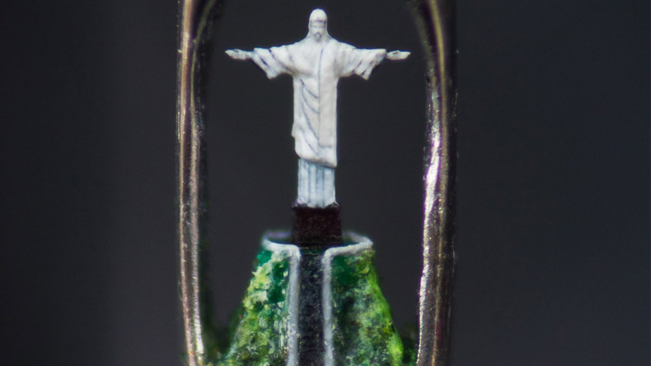 Williard Wigan created this micro-sculpture of Christ the Redeemer inside the eye of a needle.  He used a fly hair (yes, a hair from a fly's head) as a paintbrush.   Click here for a short video.