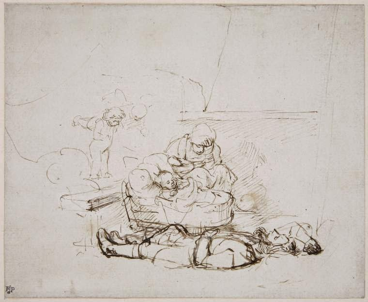 The Holy Family Sleeping, with Angels , Rembrandt van Rijn, pen and brown ink on paper, 1645.