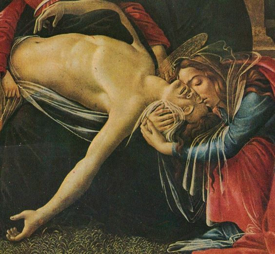 """""""This is not to end in death."""" The death and raising of Lazarus foreshadows the death and resurrection of Jesus. Botticelli, Pieta  (detail)."""