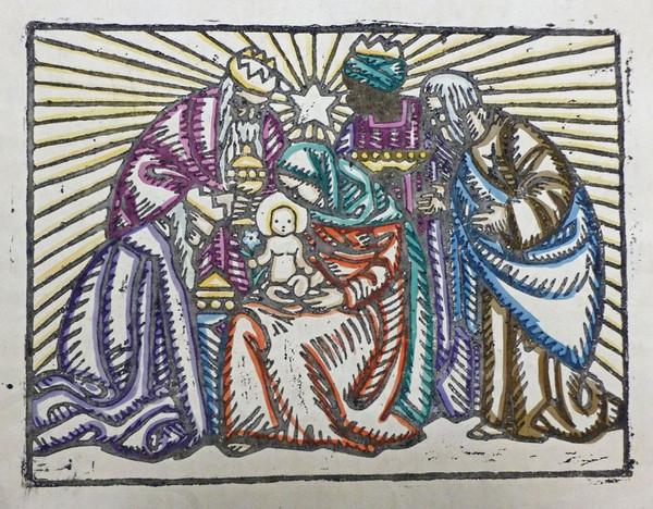 Anne Koken, color linocut. Courtesy  Sacred Art Pilgrim .