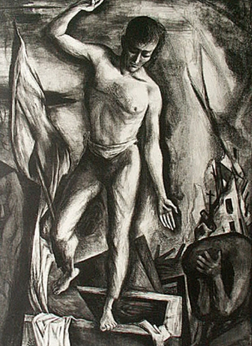Lithograph of the Risen Christ by Benton Spruance. Courtesy  Sacred Art Pilgrim .