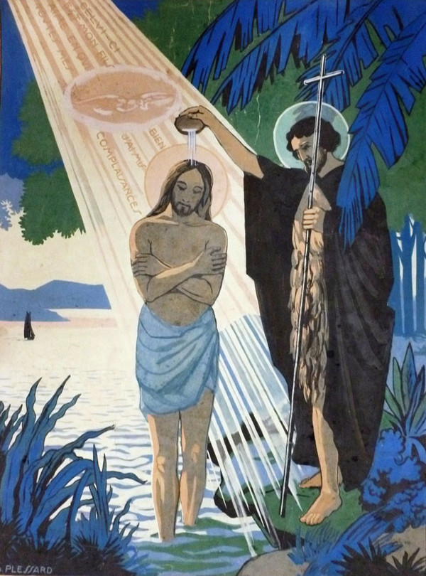 In this lovely image by Charles Plessard (goache on paper), the Holy Spirit descends upon Jesus as he is baptized by John the Baptist. Illustrations of the baptism of Jesus allow an artistic expression of the intimacy between Jesus, the Father and the Spirit that we read about in this passage from John's Gospel. Image courtesy  Sacred Art Pilgrim .
