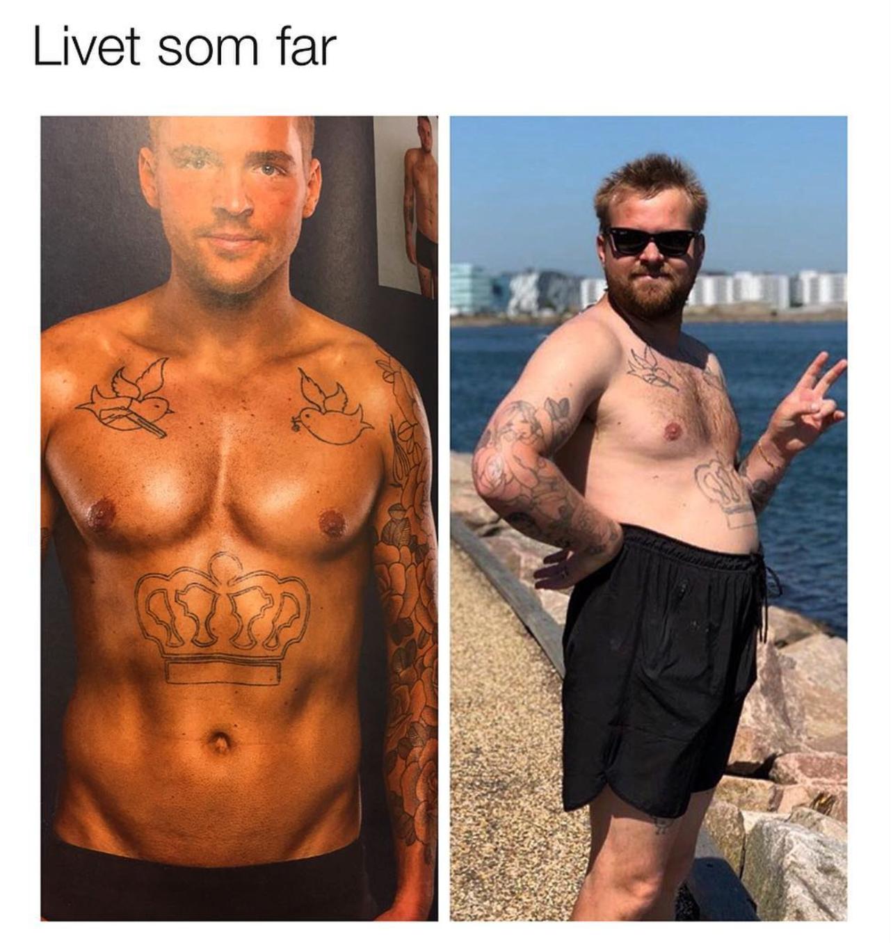 Joakim Ingversen før og efter at være blevet far, via Anders Hemmingsen på Instagram. Bemærk dog, at Joakim ser ud til at stortrives – ikke mindst som far – og hans Instagram-profil kan virkelig anbefales at følge.