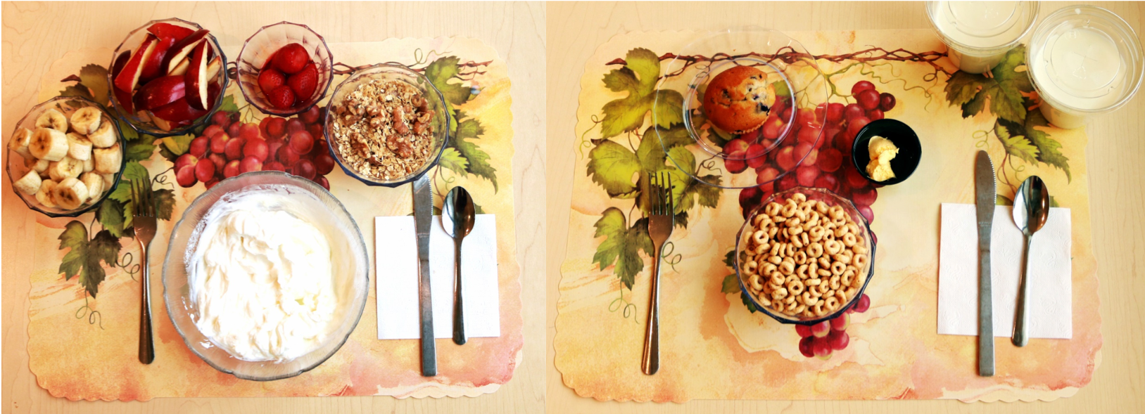 Eksempel på henholdvis en uforarbejdet morgenmad (venstre) og en ultraforarbejdet morgenmad (højre). Drikkevarerne til højre er iblandet kostfibre for at matche indholdet i den uforarbejdede morgenmad, men er ellers kaloriefri.