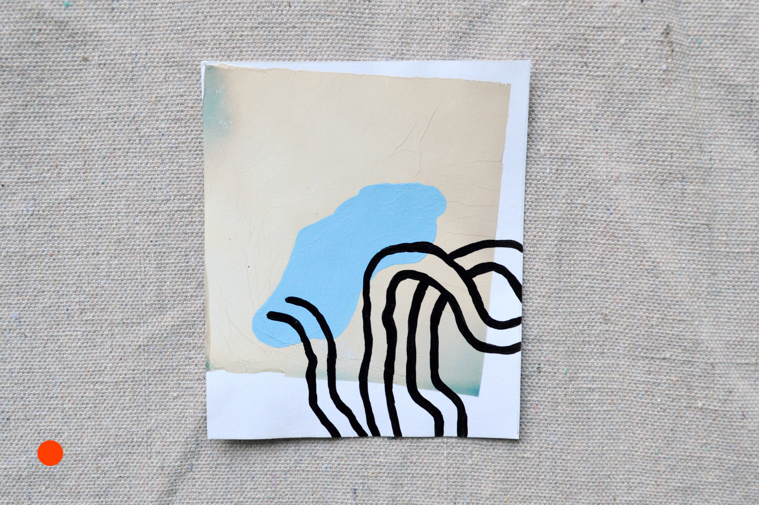 """The Aesthetics Of Being 26 And Maybe Drinking A Little Too Much (White) (SOLD)  Paint on polaroid emulsion on paper  4.5"""" x 4""""  2018"""